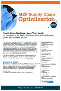 February 2014 E-Newsletter MEP Supply Chain Optimization