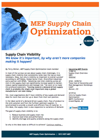 January 2014 E-Newsletter MEP Supply Chain Optimization