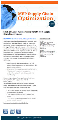 June 2014 E-Newsletter MEP Supply Chain Optimization