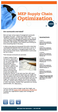 October 2014 E-Newsletter MEP Supply Chain Optimization