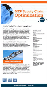 September 2014 E-Newsletter MEP Supply Chain Optimization