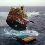 Dealing with risk, ship on stormy ocean